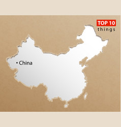 China map chinese maps craft paper texture empty vector