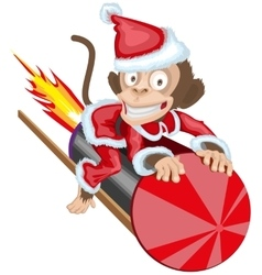 Christmas Monkey Santa flying on firework rocket vector image