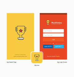 Company trophy splash screen and login page vector