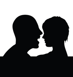 couple head black silhouette vector image