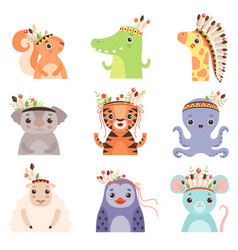 cute animals wearing headdress with feathers vector image