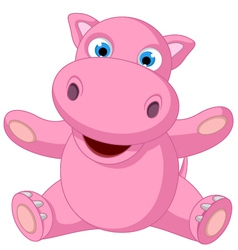 Cute baby hippo cartoon sitting vector
