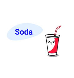 cute cup soda cartoon comic character vector image