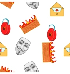 Cyber crime pattern cartoon style vector