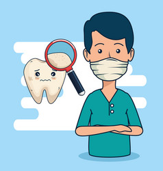 Dentist man with magnifying glass to tooth vector