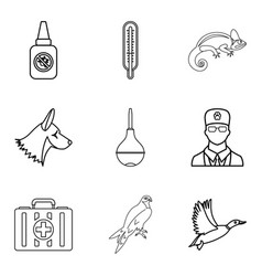 Doctor for animal icons set outline style vector