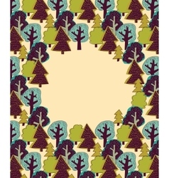 Doodles forest color border frame vector image