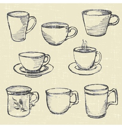 drawn pencil cups vector image