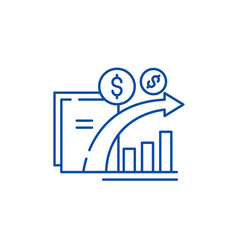 Dynamics of financial growth line icon concept vector