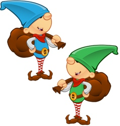 Elf Mascot Holding A Sack vector image