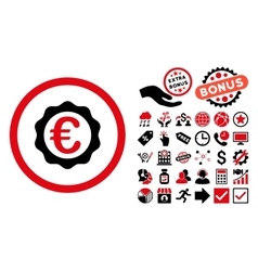 Euro Award Stamp Flat Icon with Bonus vector image
