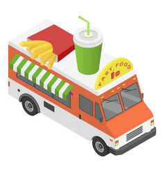 fast food truck icon isometric style vector image