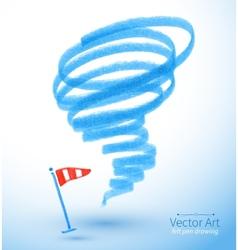 Felt pen drawing of storm vector image