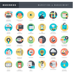 flat design icons for marketing and management vector image