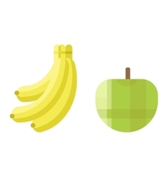 Fresh green apple and banana icon vector