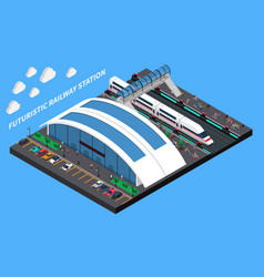 futuristic railway station isometric composition vector image