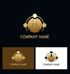 gold round connect logo vector image