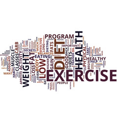 good health begins with diet and exercise text vector image vector image