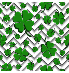 green clovers with four leaves st patricks day vector image