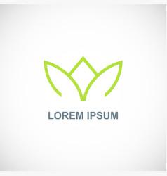 green leaf crown line logo vector image