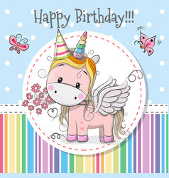 Greeting card cute unicorn vector