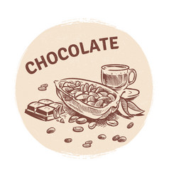 hand drawing chocolate emblem vector image