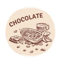 hand drawing chocolate emblem vector image