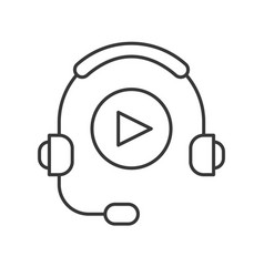 Headphone and play button technology and vector
