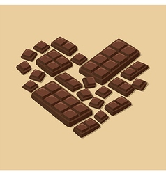 Heart Dark Chocolate Bar Valentines Day vector image