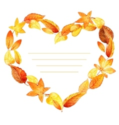 Heart from leaves autumn watercolor vector image