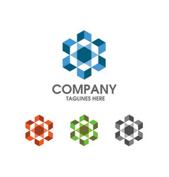 Hexagon box color logo vector