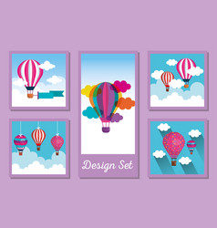 Hot air balloons set design vector