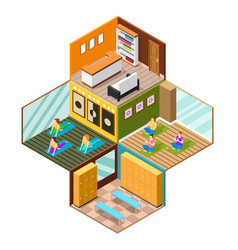 isometric yoga studio background vector image