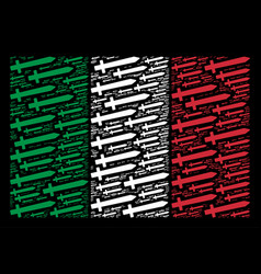 italian flag mosaic of sword icons vector image