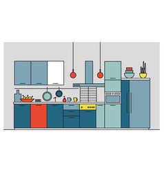 kitchen full of modern furniture household vector image