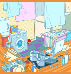 Kitchen in house household chores cooking vector