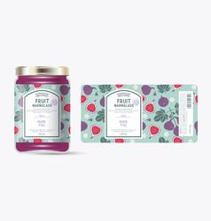 label packaging jar marmalade pattern fig fruit vector image