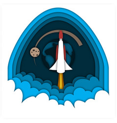 launching rocket flying in the space against the vector image