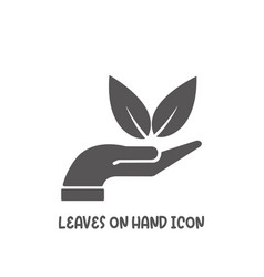 leaves on hand icon simple flat style vector image