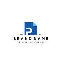 Letter p document logo design vector