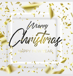 lettering christmas and falling gold confetti vector image