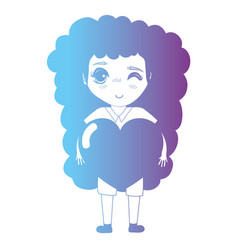 line avatar girl with hairstyle and clothes vector image
