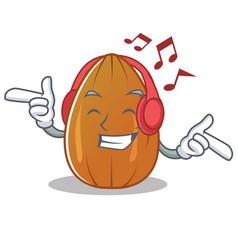 Listening music almond nut character cartoon vector