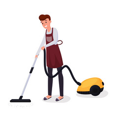 Man using vacuum cleaner flat character husband vector