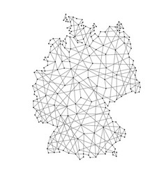 map of germany from polygonal black lines and dots vector image