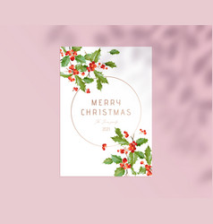 merry christmas greeting card with typography vector image