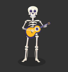Mexican day dead skeleton with guitar mexican vector