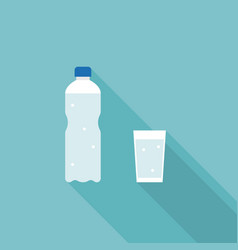 mineral water bottle and glass of water vector image