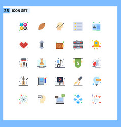 Modern set 25 flat colors pictograph hotel vector