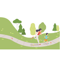 mom and her son running in park family doing vector image